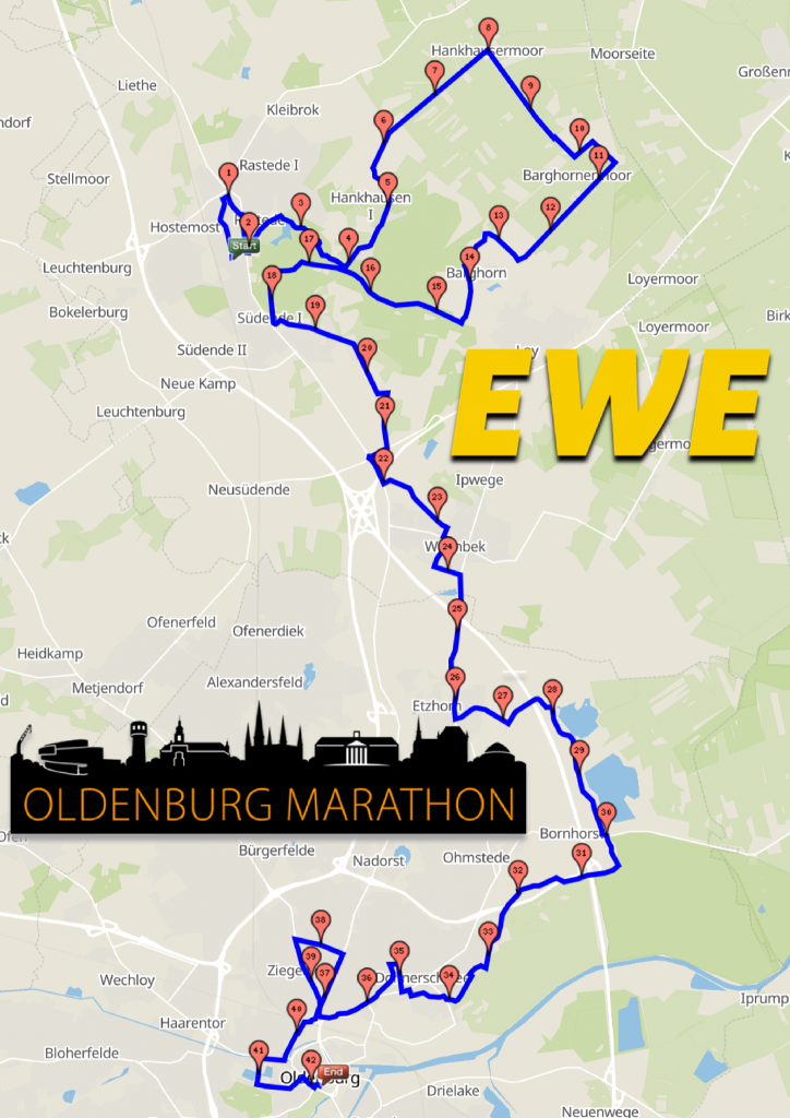 Marathonstrecke 2020 Rastede